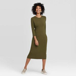 A New Day Green 3/4 Sleeve Rib Knit Midi Dress